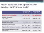 factors associated with agreement with mandate multivariable model