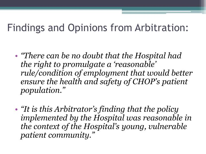 Findings and Opinions from Arbitration: