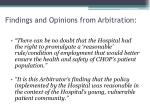 findings and opinions from arbitration