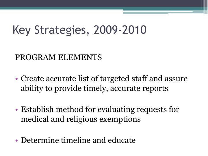 Key Strategies, 2009-2010