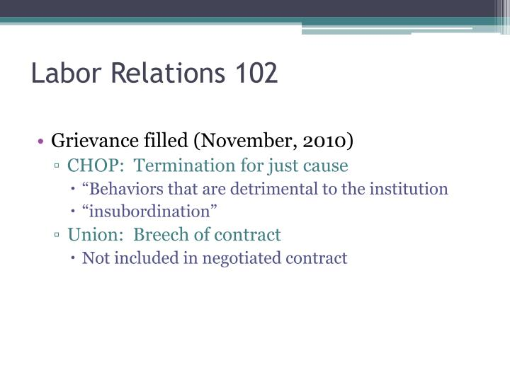 Labor Relations 102