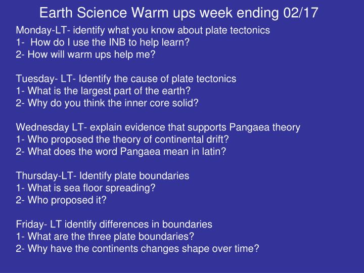 Earth Science Warm ups week ending 02/17