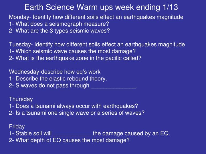 Earth Science Warm ups week ending 1/13