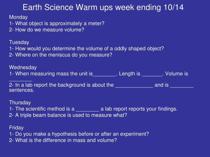 Earth Science Warm ups week ending 10/14