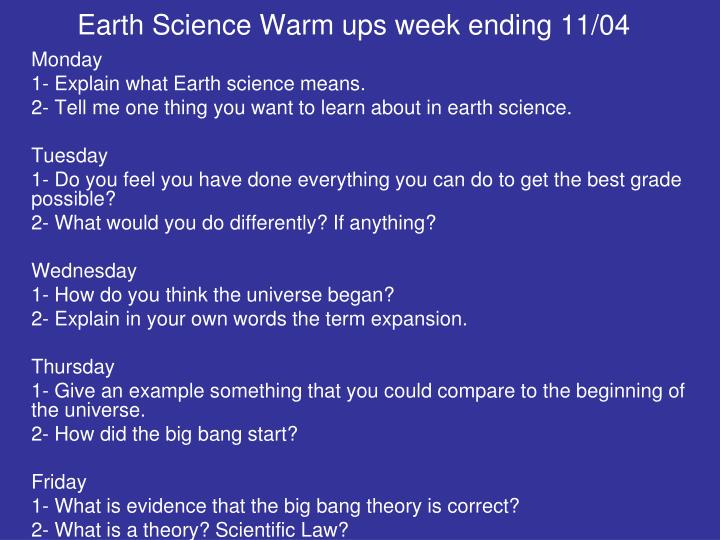 Earth Science Warm ups week ending 11/04