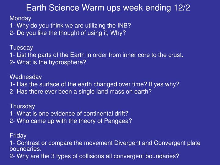 Earth Science Warm ups week ending 12/2