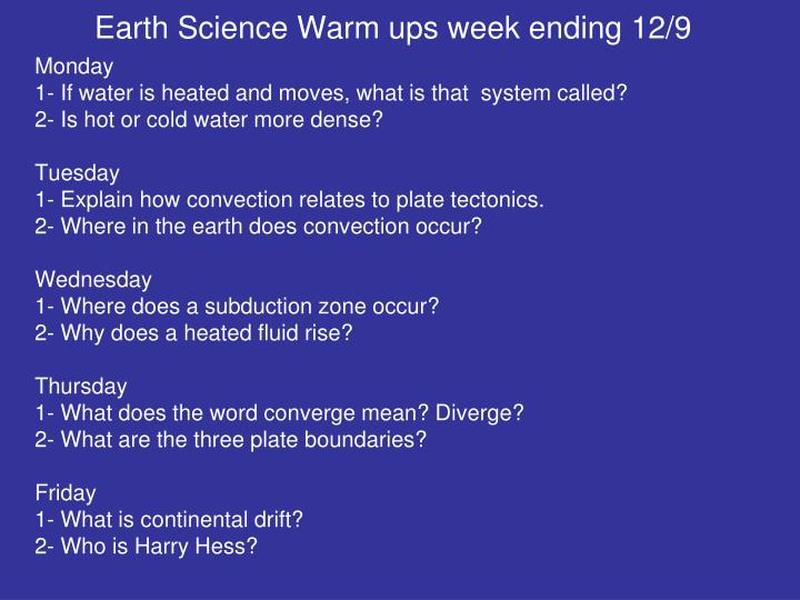 Earth Science Warm ups week ending 12/9