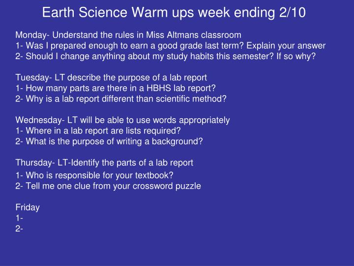 Earth Science Warm ups week ending 2/10
