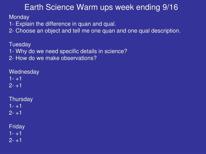 Earth Science Warm ups week ending 9/16
