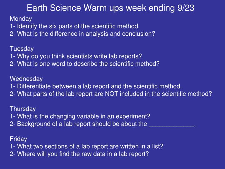 Earth Science Warm ups week ending 9/23