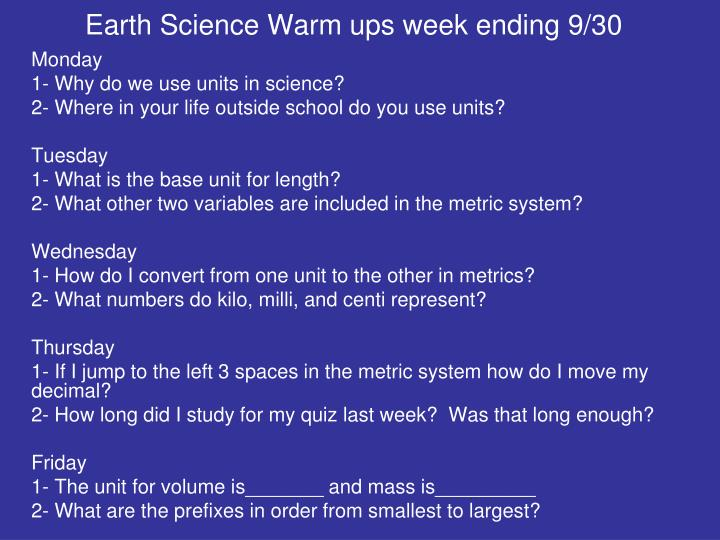 Earth Science Warm ups week ending 9/30