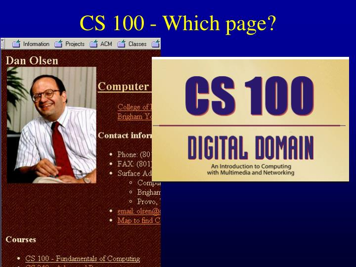 CS 100 - Which page?