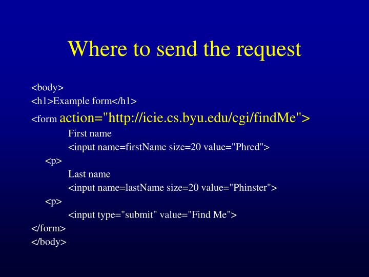 Where to send the request