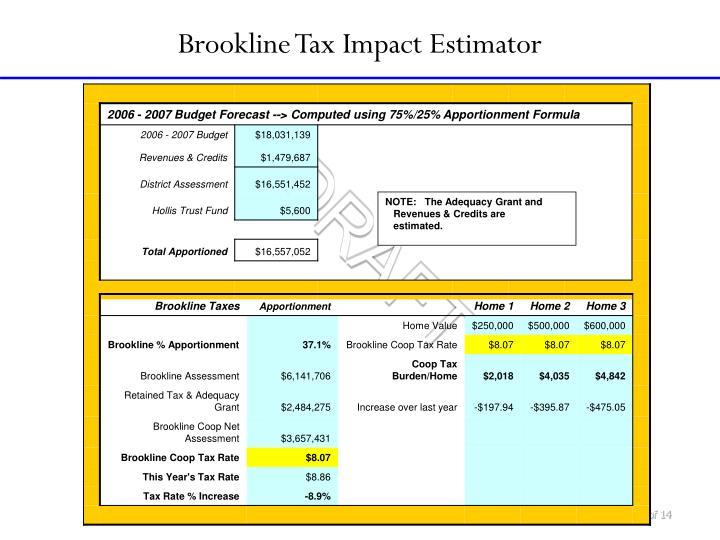 Brookline Tax Impact Estimator