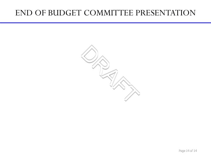 END OF BUDGET COMMITTEE PRESENTATION