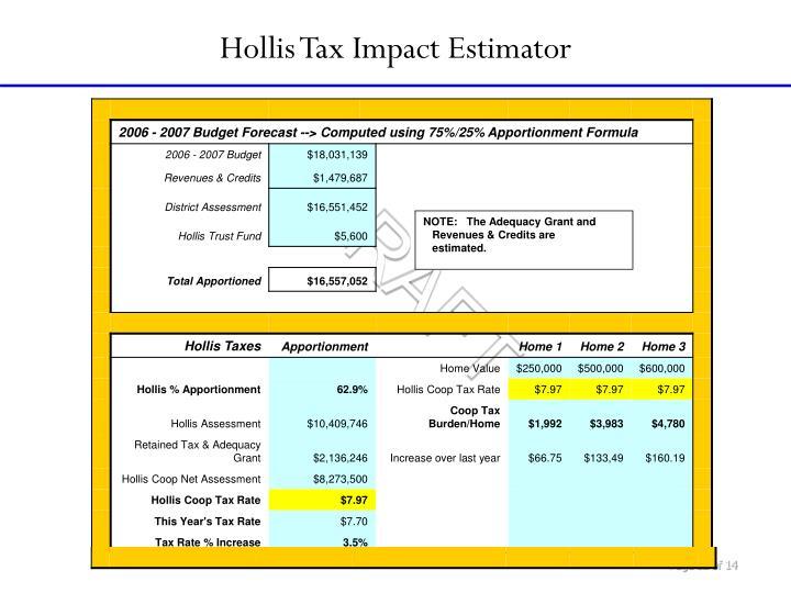 Hollis Tax Impact Estimator