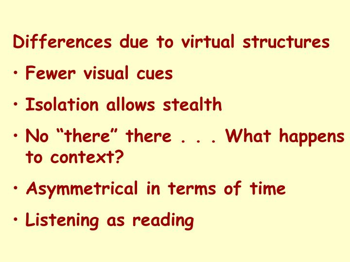 Differences due to virtual structures