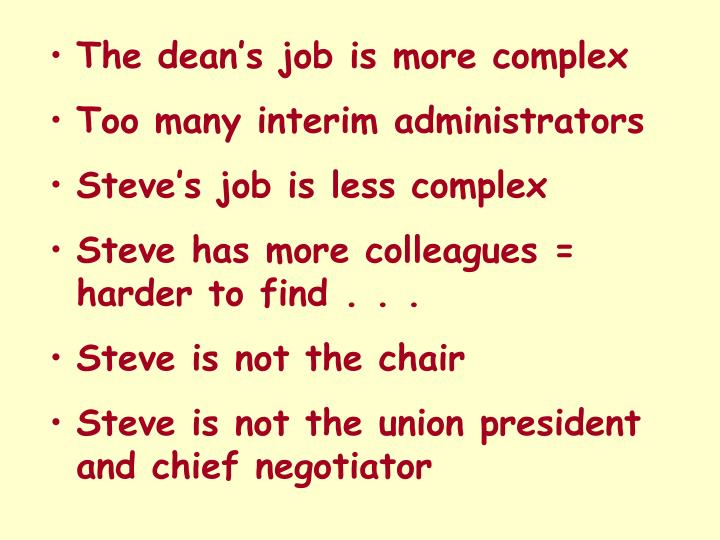 The dean's job is more complex
