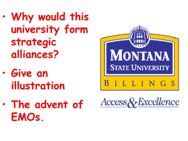 Why would this university form strategic alliances?