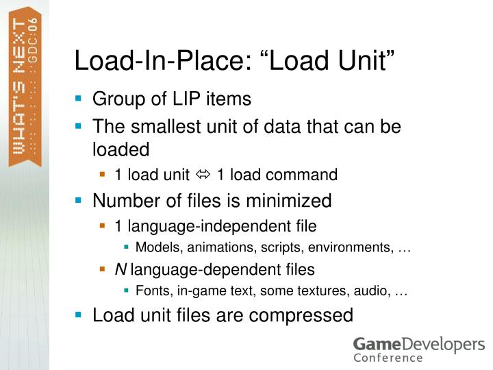 "Load-In-Place: ""Load Unit"""