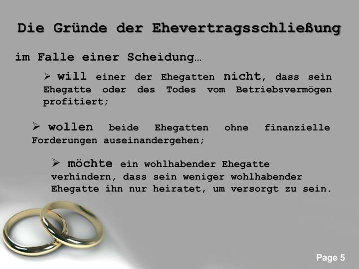 Die Gründe der Ehevertragsschließung