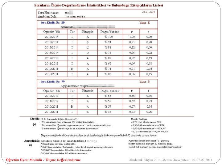 Öğretim Üyesi Modülü / Ölçme Değerlendirme