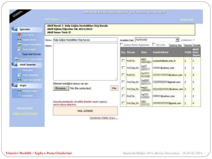 Yönetici Modülü / Toplu e-Posta Gönderimi