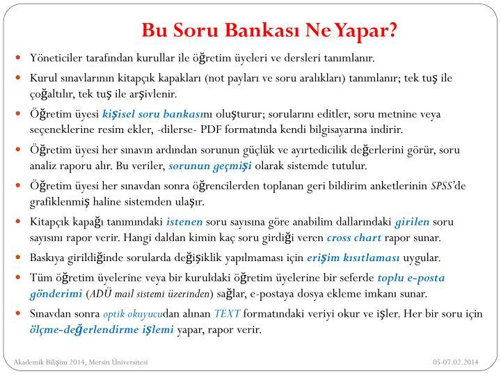 Bu Soru Bankası Ne Yapar?