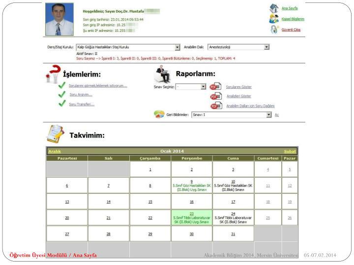 Öğretim Üyesi Modülü / Ana Sayfa