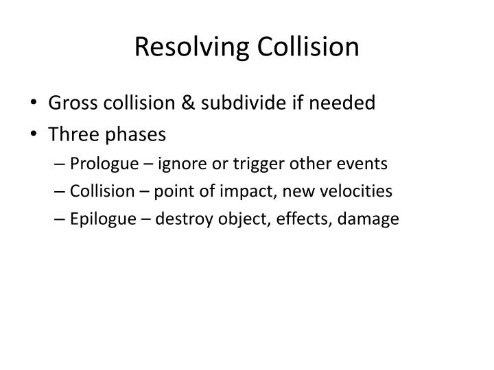 Resolving Collision
