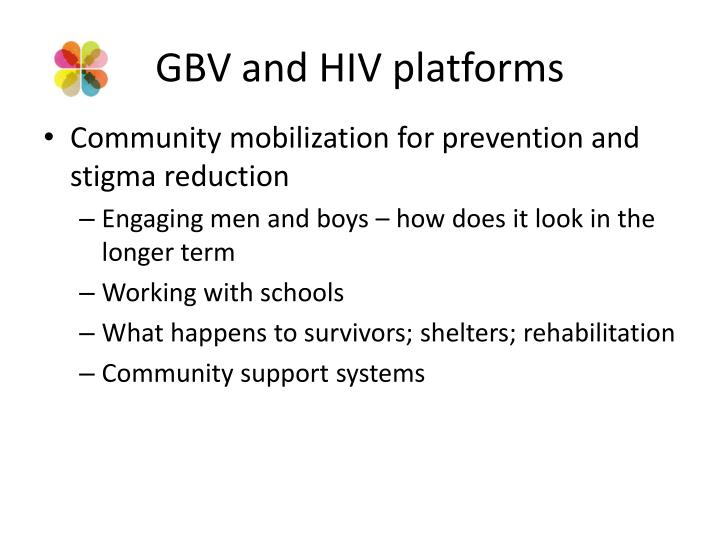 GBV and HIV platforms