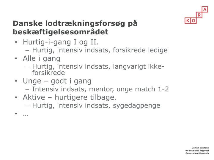 Danske lodtrækningsforsøg på beskæftigelsesområdet