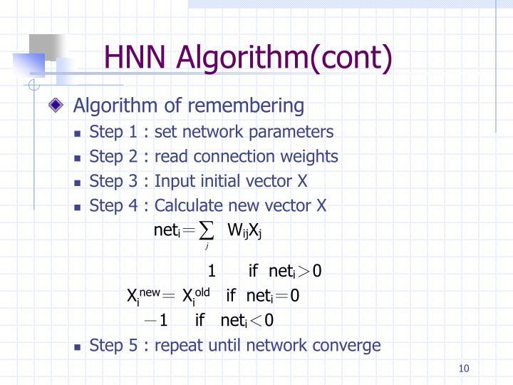 HNN Algorithm(cont)