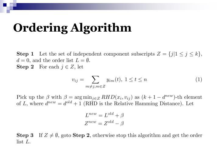 Ordering Algorithm