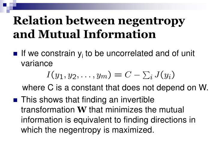Relation between negentropy and Mutual Information