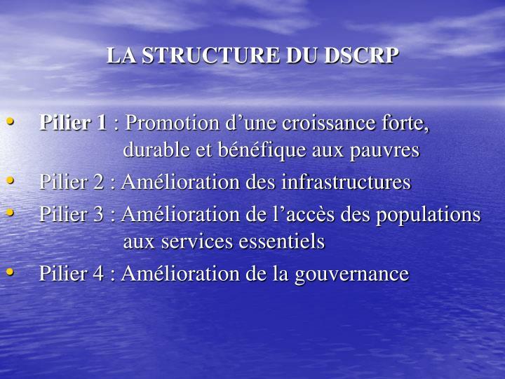 LA STRUCTURE DU DSCRP