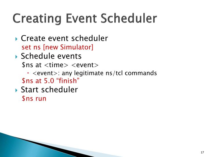 Creating Event Scheduler
