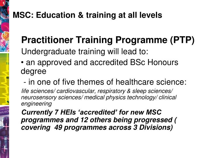 MSC: Education & training at all levels