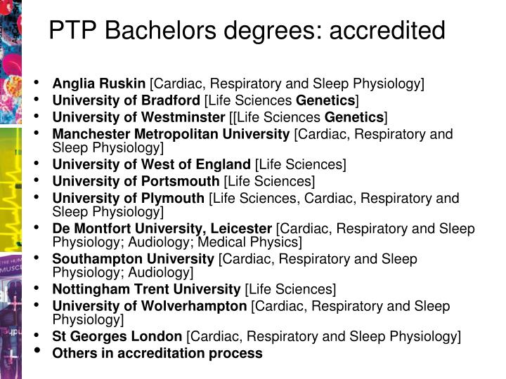 PTP Bachelors degrees: accredited