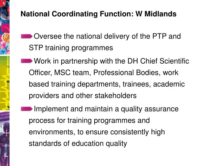 National Coordinating Function: W Midlands