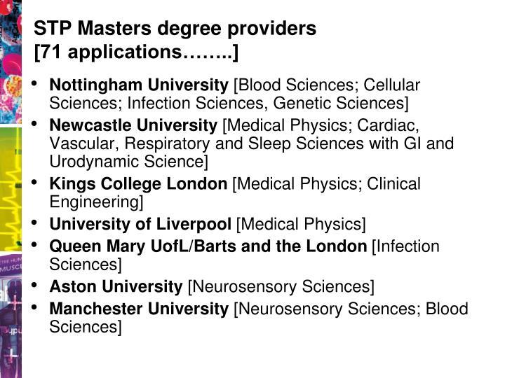 STP Masters degree providers