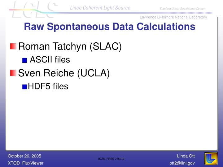 Raw Spontaneous Data Calculations