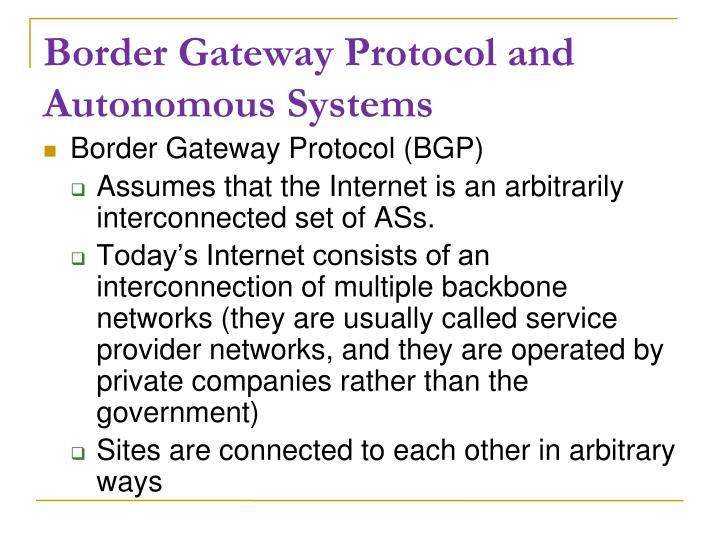 Border Gateway Protocol and Autonomous Systems