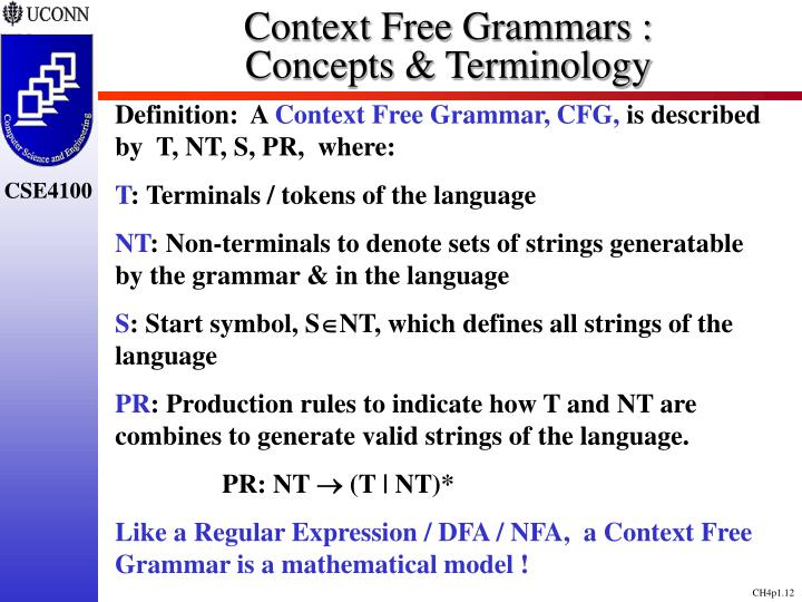 Context Free Grammars :               Concepts & Terminology