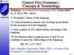 context free grammars concepts terminology
