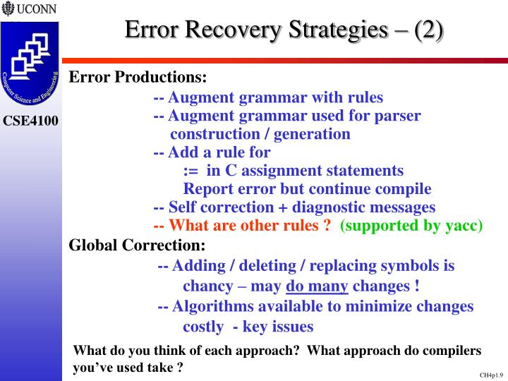 Error Recovery Strategies – (2)