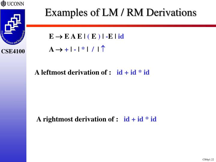 Examples of LM / RM Derivations