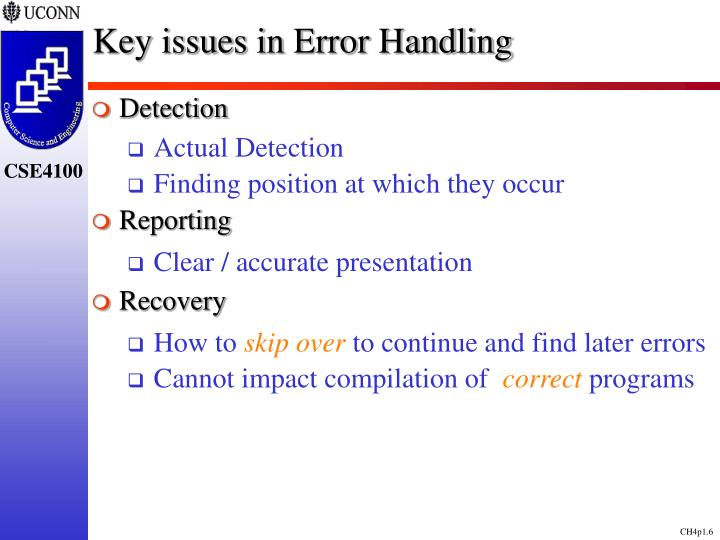Key issues in Error Handling