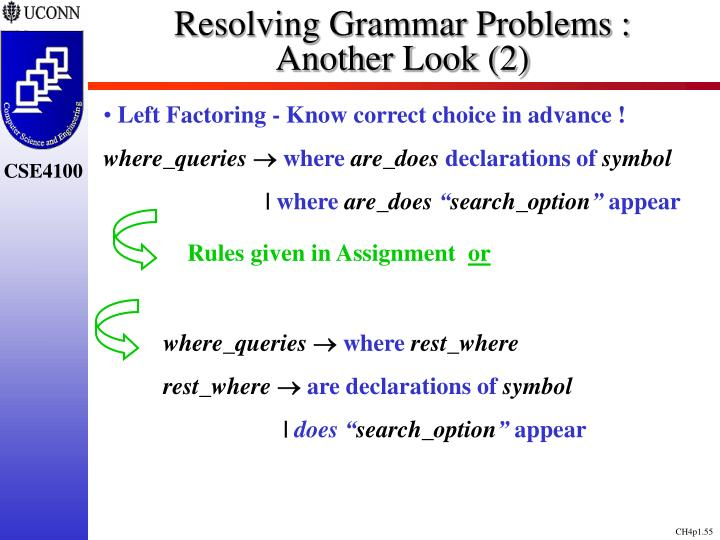 Resolving Grammar Problems :      Another Look (2)