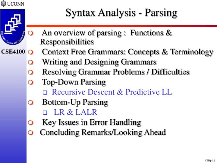 Syntax analysis parsing